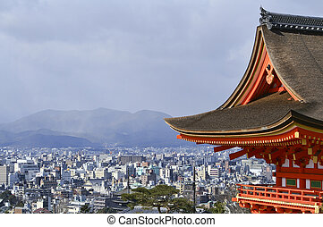 Beautiful Vista of Kyoto Japan from Kiyomizu Temple.