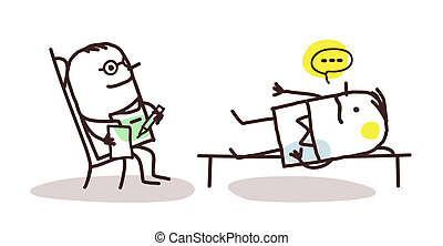 cartoon psychoanalyst with patient - vector cartoon...