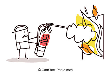 fireman with fire extinguisher