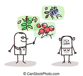 cartoon doctor and plants medicine - vector cartoon doctor...