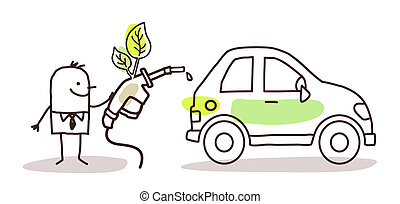 man with car and bio-fuel