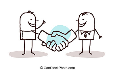 two cartoon men shaking big hands