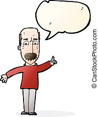 cartoon man issuing stern warning with speech bubble