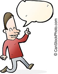 cartoon happy man pointing with speech bubble