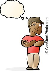 cartoon muscular man with thought bubble