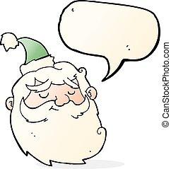 cartoon santa claus face with speech bubble