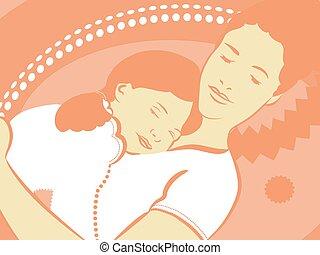 mãe, filha, dormir