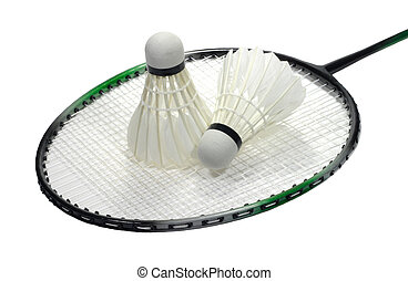 Badminton racquet with volans over white - Badminton sport...