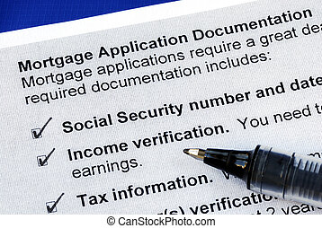 The documents required in a mortgage application isolated on...