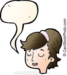 cartoon pretty female face with speech bubble
