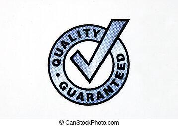 calidad, guaranteed, señal, aislado, blanco, Plano de...