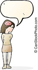 cartoon brainy woman with speech bubble