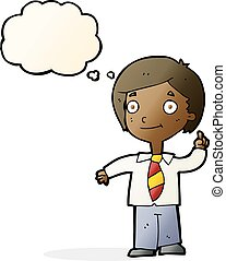 cartoon school boy answering question with thought bubble
