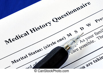 File the medical history questionnaire with a pencil