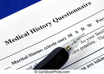 lápiz, médico, Cuestionario, archivo, historia