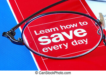 Focus on learning how to save money everyday isolated on...