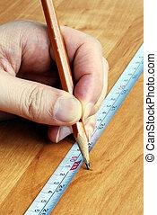 medición, cinta, lápiz, herramientas,...