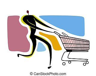human with empty shopping cart - illustration drawing of a...