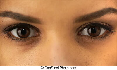 Beautiful dark eyes. Beautiful woman face. African or...