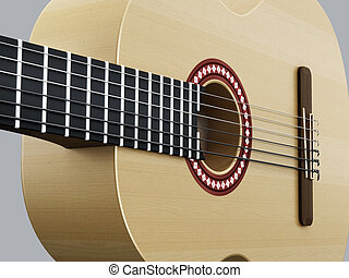 Accoustic guitar detail on gray horizontal version