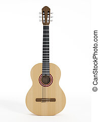 Accoustic guitar - Wooden acoustic guitar isolated on white...