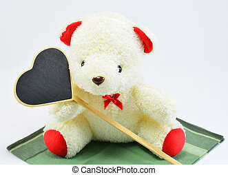 teddy bear with black heart - valentine's day