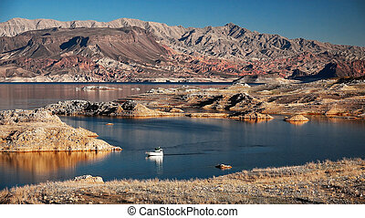 Lake Mead and Powerboat - A powerboat cruising on Lake Mead