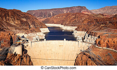 Stock Photos of Hoover Dam and Lake Mead viewed from the newly ...