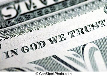em, Deus, nós, confiança, dólar, conta