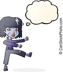 cartoon undead girl with thought bubble