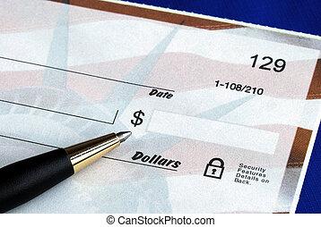 Escreva, dólar, montante, cheque, isolado, azul