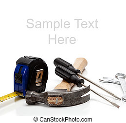 Various tools on a white background with copy space