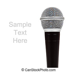 Black and silver microphone on a white background with copy space