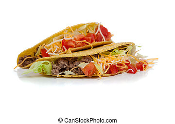 two beef tacos on white with copy space