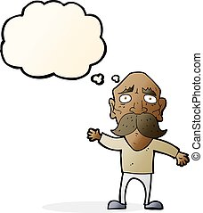 cartoon worried old man with thought bubble