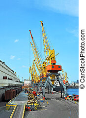 Cargo crane, pipe, train and ship - Pipe stack, ship and...