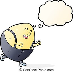 cartoon humpty dumpty egg character with thought bubble