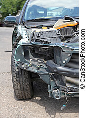 Crashed Automobile - The broken wing of a crashed car **...