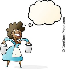 cartoon milkmaid carrying buckets with thought bubble