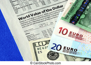 Check the foreign exchange rates isolated on blue