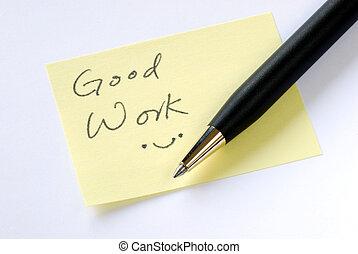 メモ, よい, 仕事, 黄色, 付せん, 書きなさい, 言葉