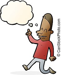 cartoon happy man pointing with thought bubble