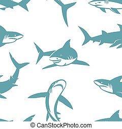 Sharks silhouettes seamless pattern. Blue shark on a white...