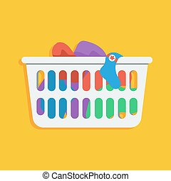 Laundry basket vector icon illustration - Flat style icon of...