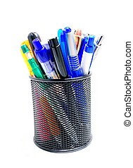 Pens office pot - Black office pot with pencils and pens on...