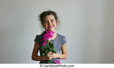 girl and rose flowers - girl teen happy gives roses flowers