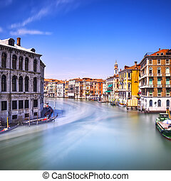 Venice grand canal or Canal Grande, view from Rialto bridge...