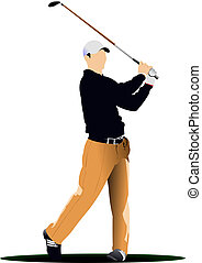 Golf players. Vector illustration