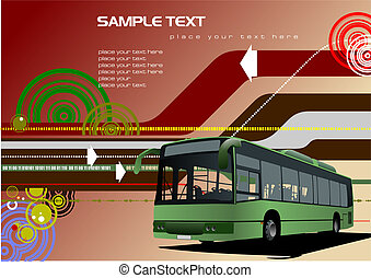 Abstract background with bus images. Vector illustration