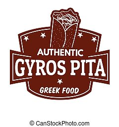 Gyros label or stamp on white background, vector...